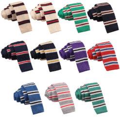 Knitted 3 Thin Stripe Skinny Tie