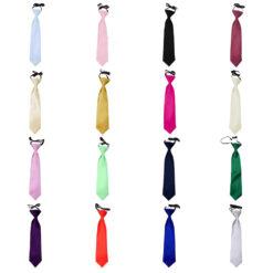 Plain Satin Elasticated Tie - Boys