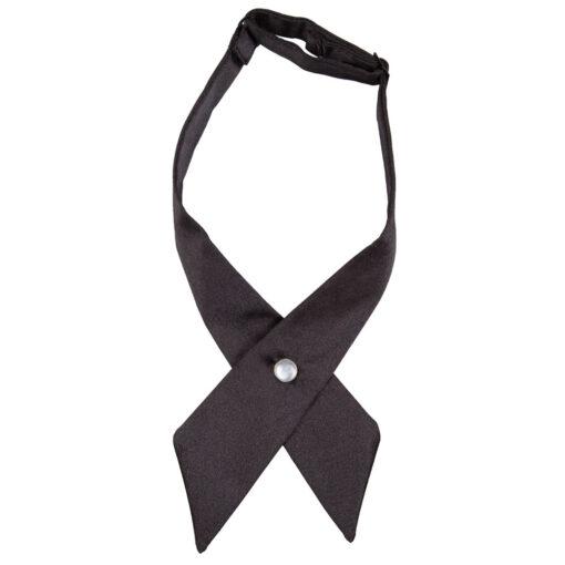 Plain Satin Black Crossover Bow Tie