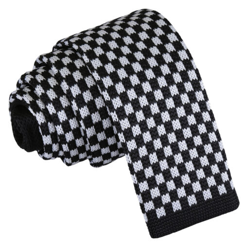 Check Knitted Skinny Tie