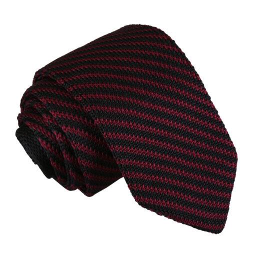 Diagonal Stripe Knitted Slim Tie