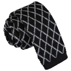 Diamond Grid Knitted Skinny Tie