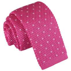 Flecked V Polka Dot Knitted Skinny Tie
