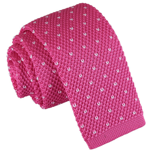 Flecked V Polka Dot Knitted Skinny Tie