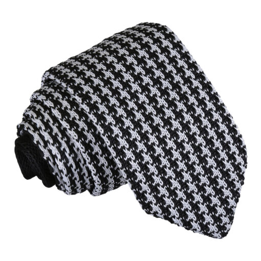 Houndstooth Knitted Slim Tie