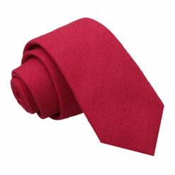 Scarlet Red Panama Cashmere Wool Slim Tie