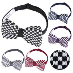 Check Knitted Pre-Tied Bow Tie