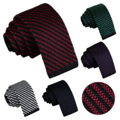Diagonal Stripe Knitted Skinny Tie