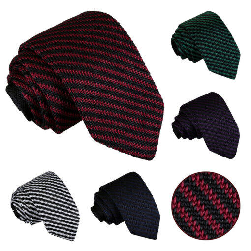Diagonal Stripe Knitted Slim Tie
