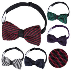 Diagonal Stripe Knitted Pre-Tied Bow Tie