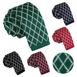 Diamond Grid Knitted Skinny Tie