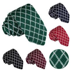 Diamond Grid Knitted Slim Tie