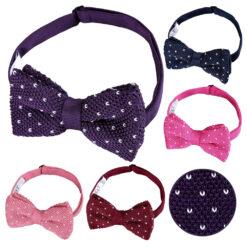 Flecked V Polka Dot Knitted Pre-Tied Bow Tie