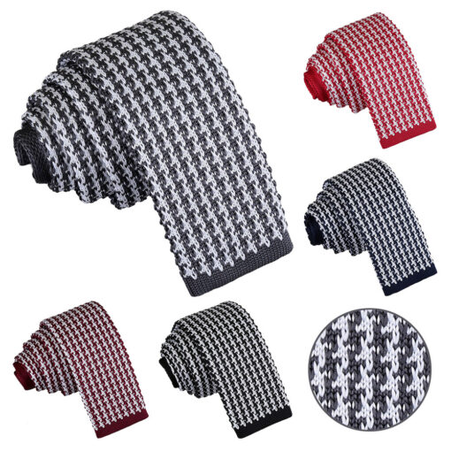 Houndstooth Knitted Skinny Tie