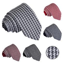Houndstooth Knitted Slim Tie