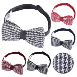 Houndstooth Knitted Pre-Tied Bow Tie