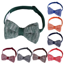 Melange Plain Speckled Knitted Pre-Tied Bow Tie