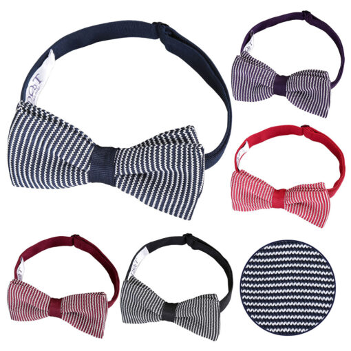 Pin Stripe Knitted Pre-Tied Bow Tie