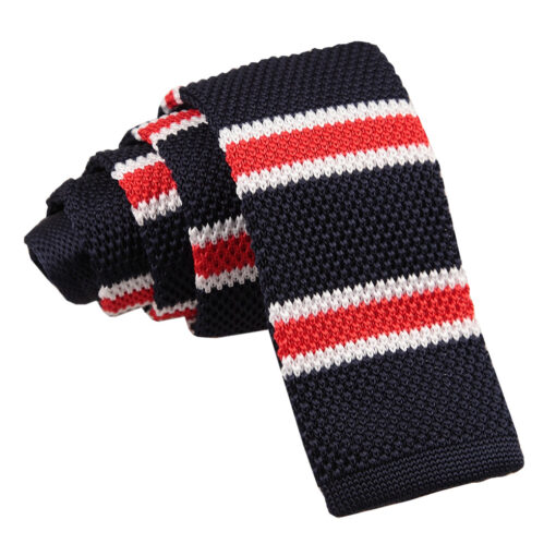 Knitted Stripe with 2 Borders Skinny Tie